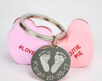 Valentine's day gift idea actual baby footprint keychain personalized keychain key charm handprint keychain Child name keychain kids name