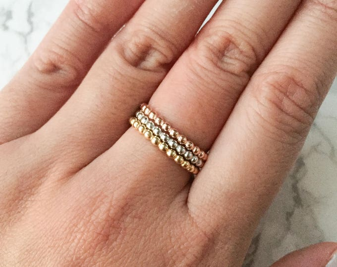 Set of 3 Simple Bead Stacking Rings - Sterling Silver, Gold, & Rose Gold
