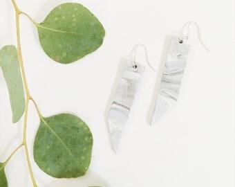 Clay Drop Earrings, Marble