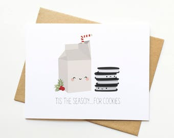 Milk and Cookies Holiday Xmas Cute Illustration Card