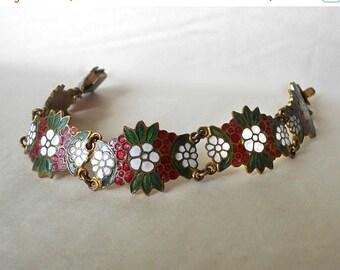 CIJ SALE Vintage Bracelet Enameled Brass link Red White floral Flowers Green Leaves MmV