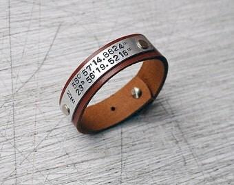Leather personalized bracelet, Coordinate bracelet. Custom latitude longitude leather cuff