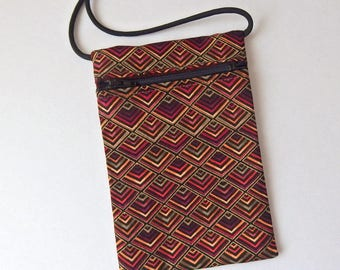 Pouch Zip Bag Pyramid Diamond pattern Fabric. Autumn Fall . Great for walkers, markets,travel. Cell Phone Pouch. Evening Purse. gold accents