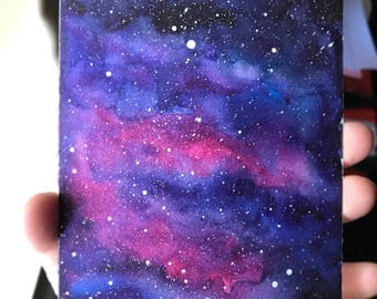 Galaxy Watercolor Nebula Watercolor Original Painting Galaxy Art Constellation Stars Space Art Sky 4x6 inch