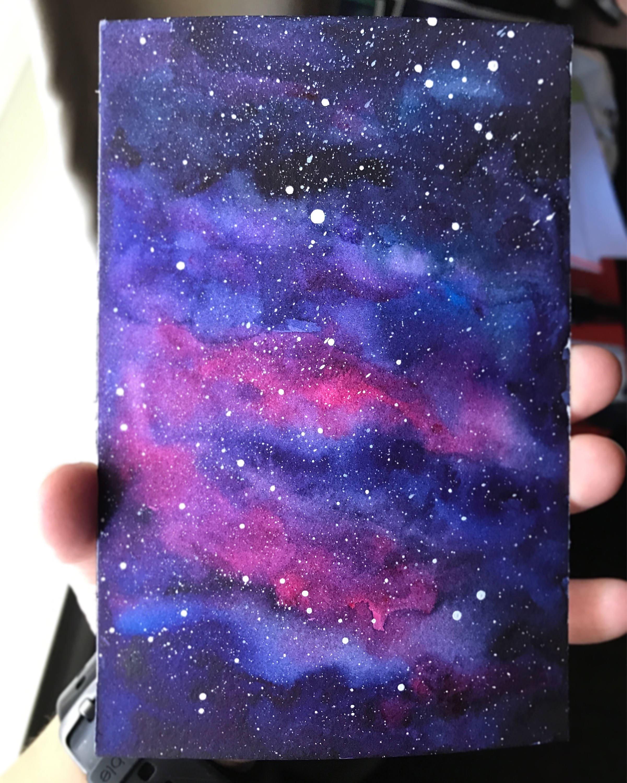 Galaxy Watercolor Nebula Watercolor Original Painting Galaxy