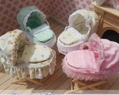 1/12th Scale Miniature Dollhouse Moses Baskets with Folding Stand