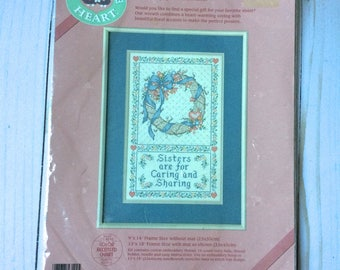 Vintage Dimensions From The Heart Sisters Wreath Counted Cross Stitch Kit