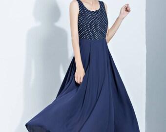 blue chiffon dress,sleeveless dress,summer dress,polka dot dress,long chiffon dress,scoop collar dress,flare dress,women's dress C1126