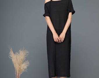 Split dress, one shoulder dress, black dress, linen dress, midi dress, womens dress, strap dress, summer dress, loose dress, day dress C1149