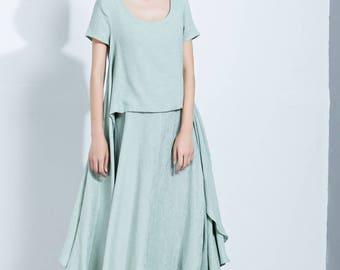 Cotton Dress, womens dresses, dress, Casual Dress, maxi Dress, Printed Dress, Short Sleeve Dress, loose dress, Summer Dress C1129
