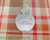 Apple Pet ID Tag - Custom Dog or Cat Pet ID Tag- Handmade
