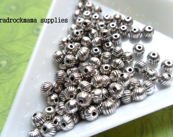20 Antiqued Silver Corrugated Spacer Beads 4mm   -A4D2-2