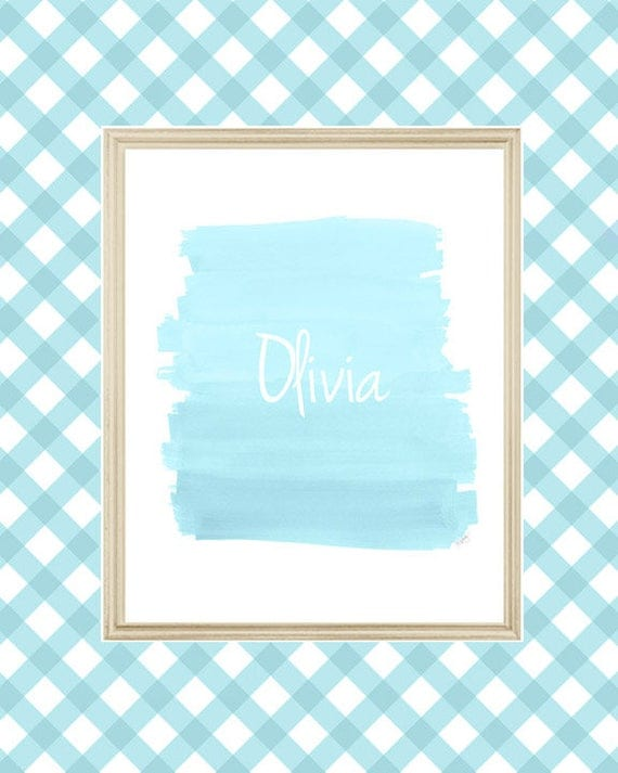 Aqua Brushstroke Print for Girls, Personalized in 8x10