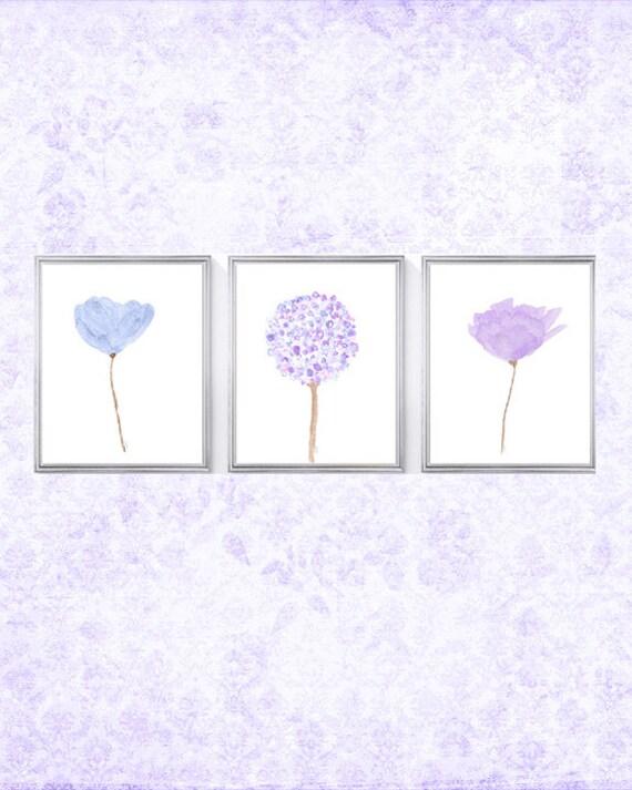 Lavender and Blue Flower Prints, Set of 4- 8x10 Floral Prints