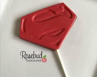 Superhero Party Chocolate Lollipops Justice League Hero Favors Red Birthday Decorations Dessert Table Decor Logo Marvel Comics