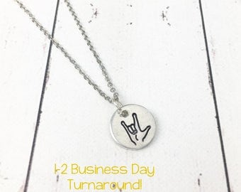 I Love You Sign Language Necklace - Sign Language Jewelry - ASL Necklace - I Love You Necklace - Dainty Hand Stamped
