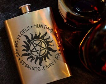 Saving People, Hunting Things, The Family Business, Supernatural, Protection Symbol, SPN, Family, Winchester Brothers, 8oz Hip Flask