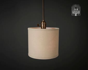 Pendant Light Fixture | Edison Bulb | Oil Rubbed Bronze | Pendant | Kitchen Light | Pendant Light |  Drum Shade | Linen | Uno Shade