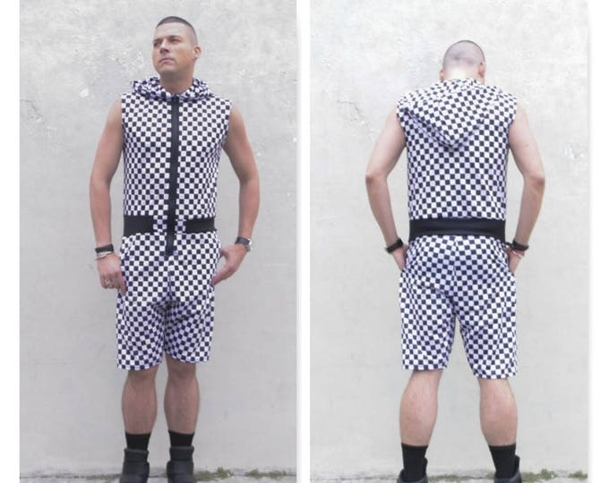 Checker Racing Printed MENS Romper jumpsuit one piece sleeveless hoodie Summer Gym tank top muscle shorts