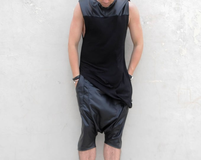 Faux Leather Latex  Contrasting Sleeveless Muscle Shirt Tshirt Rick owen inspired