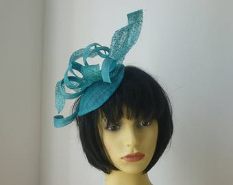 Turquoise Fascinator for Weddings, Races and Melbourne Cup
