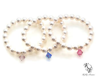 Pearl Baby Bracelet Baby Birthstone Bracelet Elastic Bracelet Little Girl Bracelet Birthstone Bracelet Baby Gift Babys First Pearls