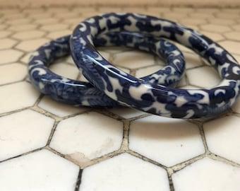 Blue & White Chinese Porcelain Bangles, Pair