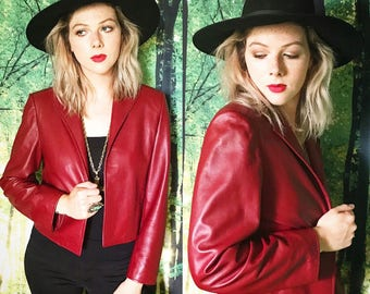 1970s Butter Soft Cropped Oxblood Italian Made Leather Blazer