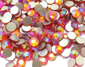 144pcs Orange Hyacinth AB Flat Back Crystal Rhinestone Aurora Borealis Effect 4mm 5mm