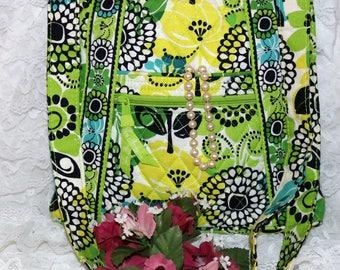 "Vera Bradley Handbag - ""Unknown Pattern""  -  Green Yellow - Zipper Closure - Retired Pattern"