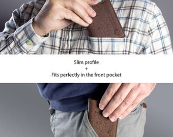 RFID Front Pocket Wallet for Men - Slim Wallet with Cards Slots - Vegan Wallet - Non Leather Cork (CK162)