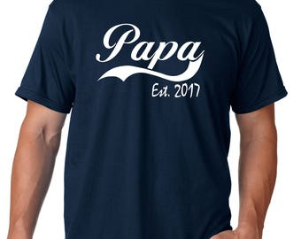 papa shirt, pregnancy announcement, baby reveal to dad, dad pregnancy, papa est, dad to be shirt, dad to be gift, new dad shirt, new dad