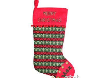 Red and Green Old Fashioned Personalized Knitted Christmas Stocking for Family, Males, Teens, Girls, Boys, Embroidery, Country Christmas
