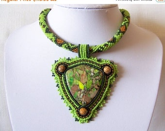 15% SALE Bead Embroidery Statement Beadwork Pendant Necklace with Green sea sediment jasper - Green Land - green, dark green, brown - big pe