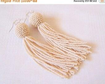 15% SALE Beaded tassel earrings - Statement Earrings - Creamy beige earrings - Dangle earrings - Long beadwork tassel earrings - Fringe earr
