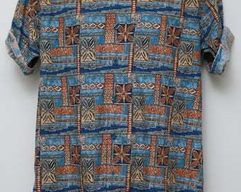 """90's Vintage """"WEEKENDER""""  Abstract Patterned Short-Sleeve Shirt Sz: SMALL (Men's Exclusive)"""