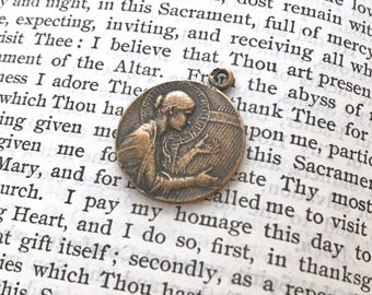 "St. Cecilia Medal - Patron of Music - 7/8"" - Bronze or Sterling Silver - Song Bird - Bronze Religious Medal - Reproduction (M-1075)"