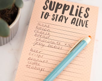 List Pad - Supplies To Stay Alive Magnetic Shopping List Pad - Notepad,gift for her,notebook, stationery, kitchen pad, mothers day gift,list