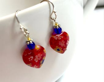 Red Heart Sterling Silver Drop Earrings