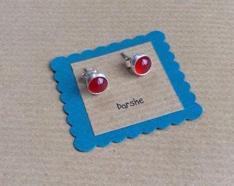 Orange studs, Carnelian Earrings, Carnelian Studs, Carnelian Stud Earrings, Carnelian Stone,Gemstone earrings, Orange Earrings, silver studs