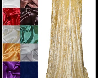 Gold Crushed Velvet Cloak lined with a Shimmer Satin of your choice. Ideal for LARP LRP Medieval Cosplay Costume. NEW!