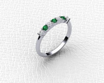 14K white gold 7 Stone Diamond and Emerald band.