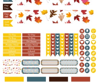 Monthly Autumn Printable Planner Stickers, 2 Pages, Digital Download for Happy Planner