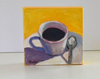 Yellow kitchen decor, Coffee lover, Christmas gift, Coffee cup painting, Gift under 50, Square, 6 X 6, Oil on canvas, Original oil painting