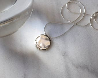 Silver Circle Necklace Circle Pendant Necklace Wave Necklace Water Necklace