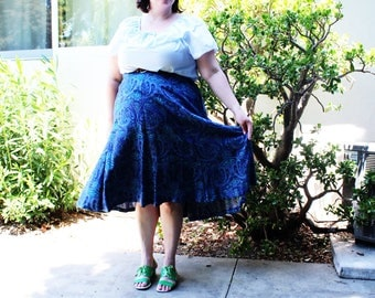 Plus Size - Vintage Blue Paisley Swing Skirt (Size 24W)