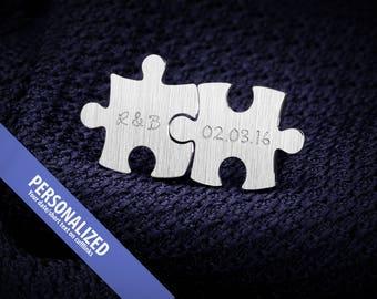 Engraved cufflinks – Wedding Cufflinks – Puzzle cufflinks sterling silver –  Personalized Cufflinks – Custom Cufflinks -
