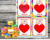 Printable Play Doh Valentine's Day Cards, Play Doh Valentine Favors, Valentine Non Candy Treats, Valentine Favors, Play Dough Valentine Card