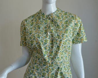 1960s Green & Yellow Floral Print Cotton Blouse With Peter Pan Collar Bust 41""