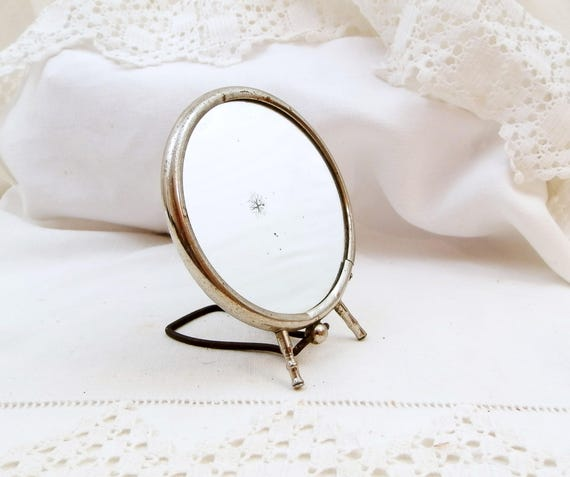 Small Vintage Round Make Up Free Standing Mirror With Folding Easel Stand from France, Chrome Art Deco Vanity Mirror, French Boudoir Decor